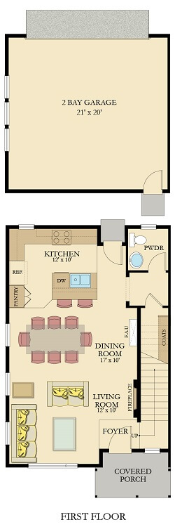The Broadmoor Floor Plan-First Floor-Furnished