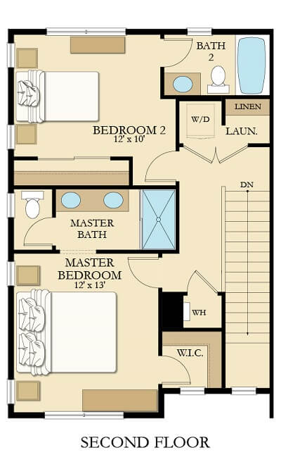 The Broadmoor Floor Plan-Second Floor-Furnished