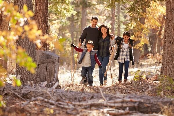 Family hiking in the woods, fall